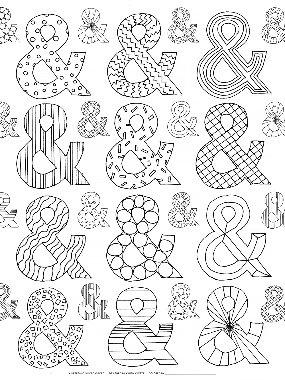 Available Now: The Ampersand Coloring Book for Adults   Karen Kavett