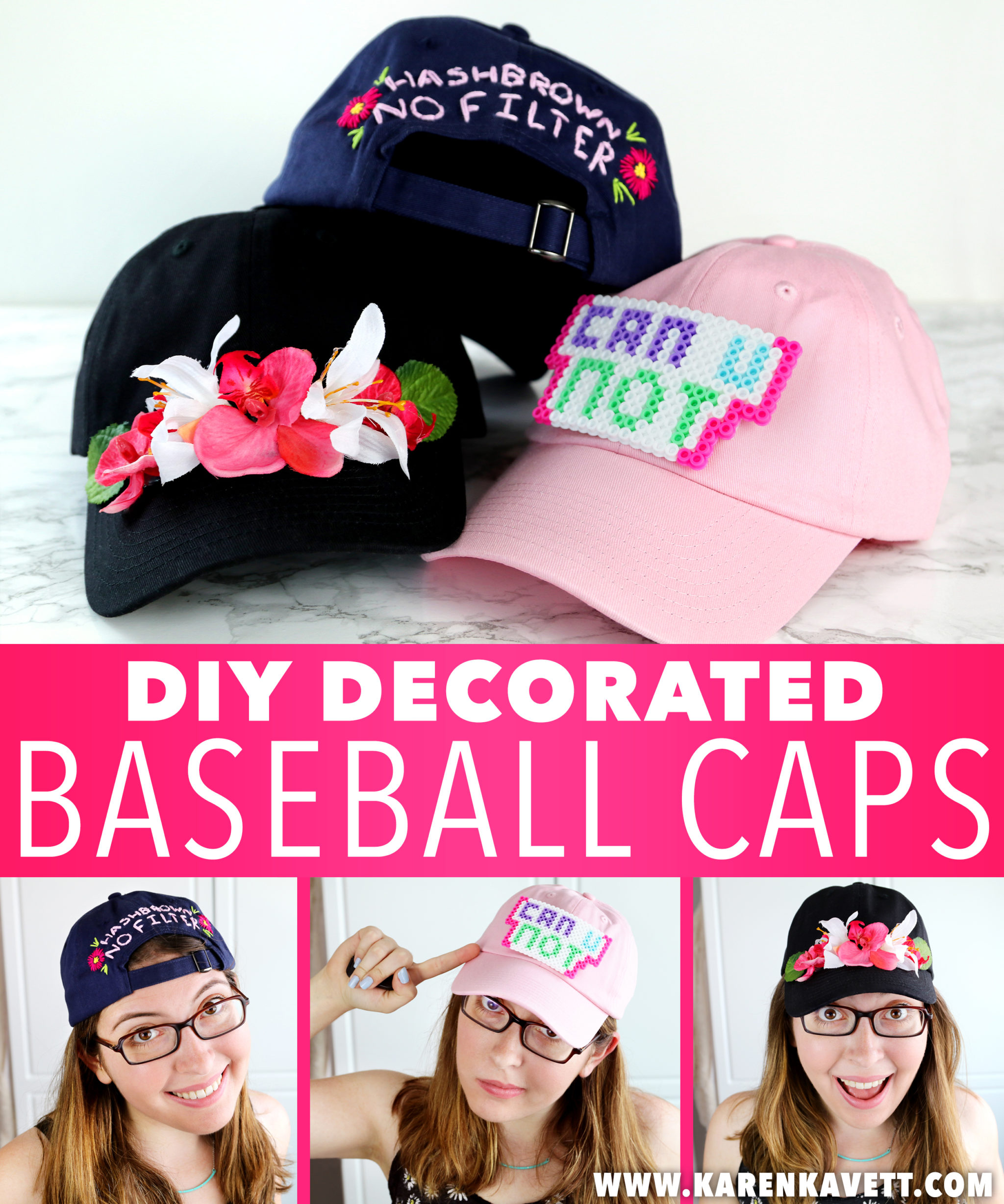 3 ways to decorate baseball caps karen kavett