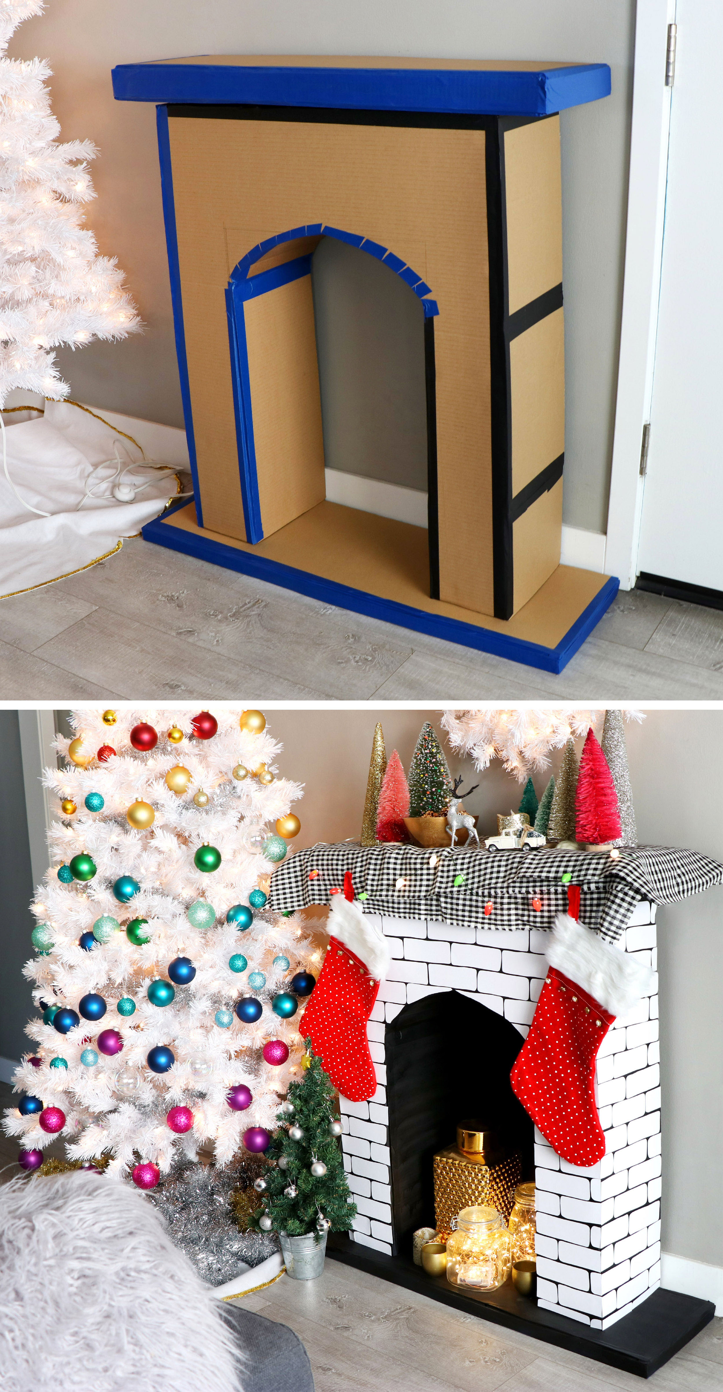 DIY Faux Cardboard Fireplace Christmas Decoration