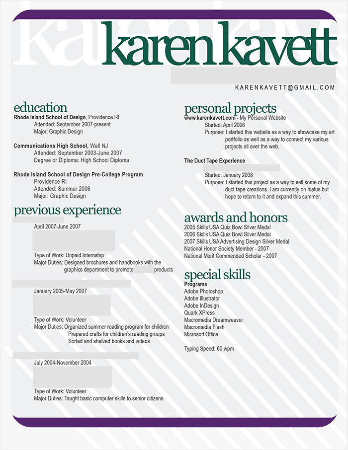 How To Design A Resume  Karen Kavett