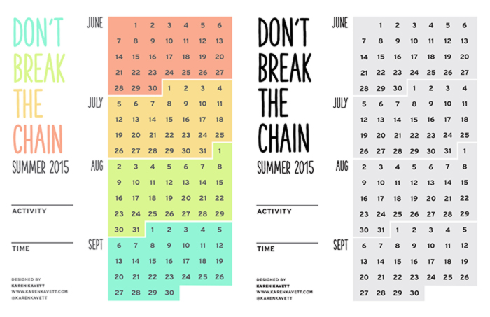 Dont break the summertime chain calendar karen kavett so this year i wanted to give you more suggestions on creative projects that you can do over the summer even if you dont necessarily think of yourself as solutioingenieria Choice Image