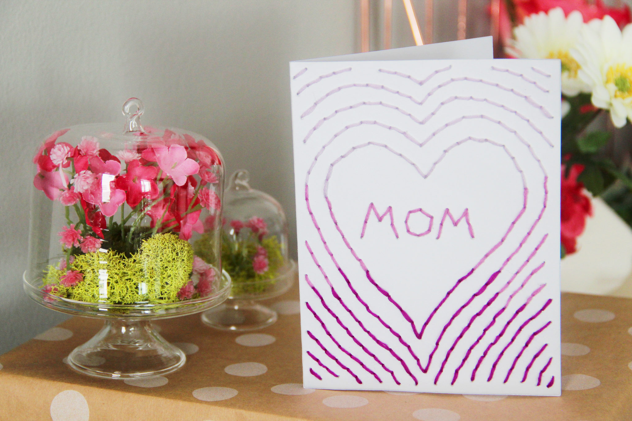 Amazing Diy Embroidered Mothers Day Cards Karen Kavett Funny Birthday Cards Online Fluifree Goldxyz