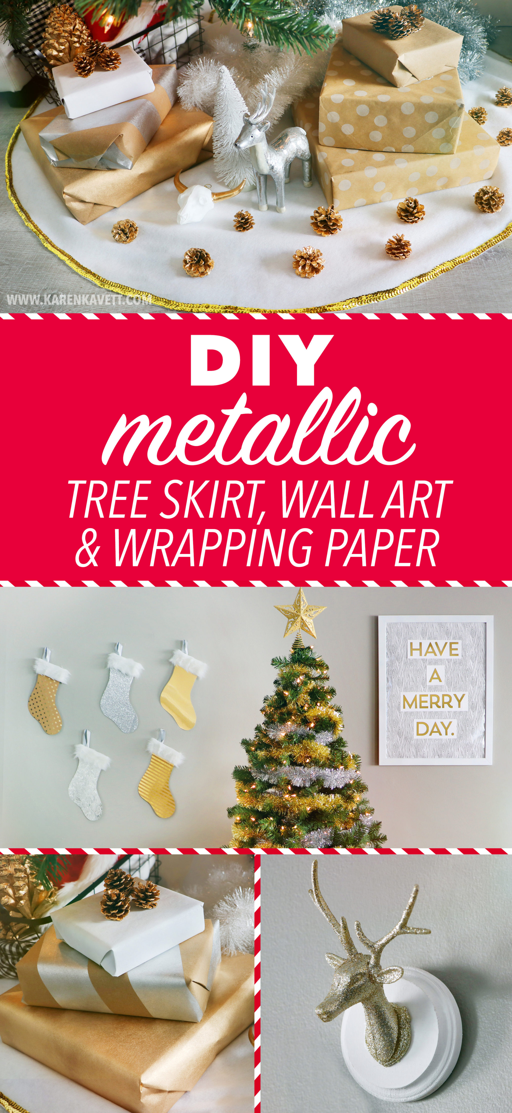 Diy Metallic Christmas Tree Skirt Wall Art Wrapping Paper Holiday 2016 Karen Kavett