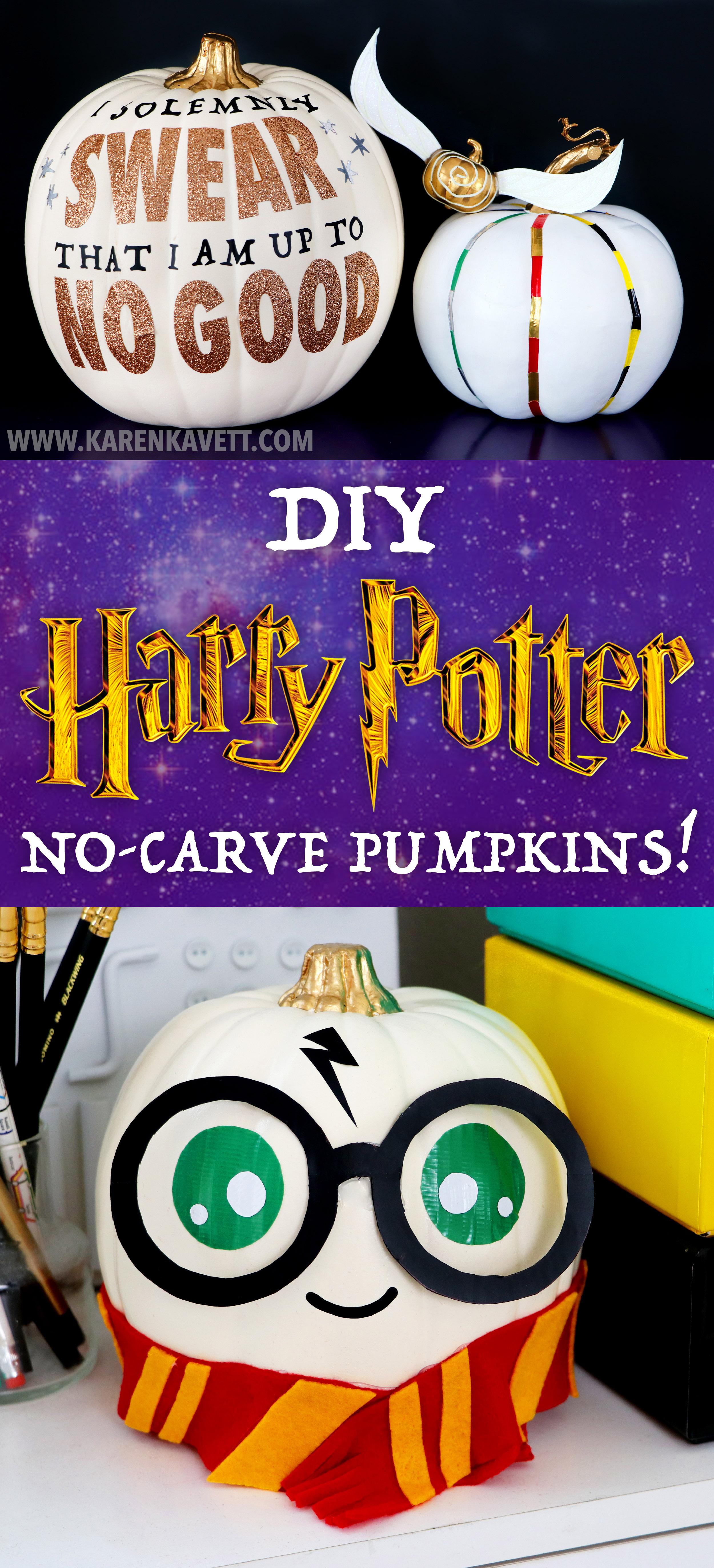Diy No Carve Harry Potter Pumpkins Karen Kavett
