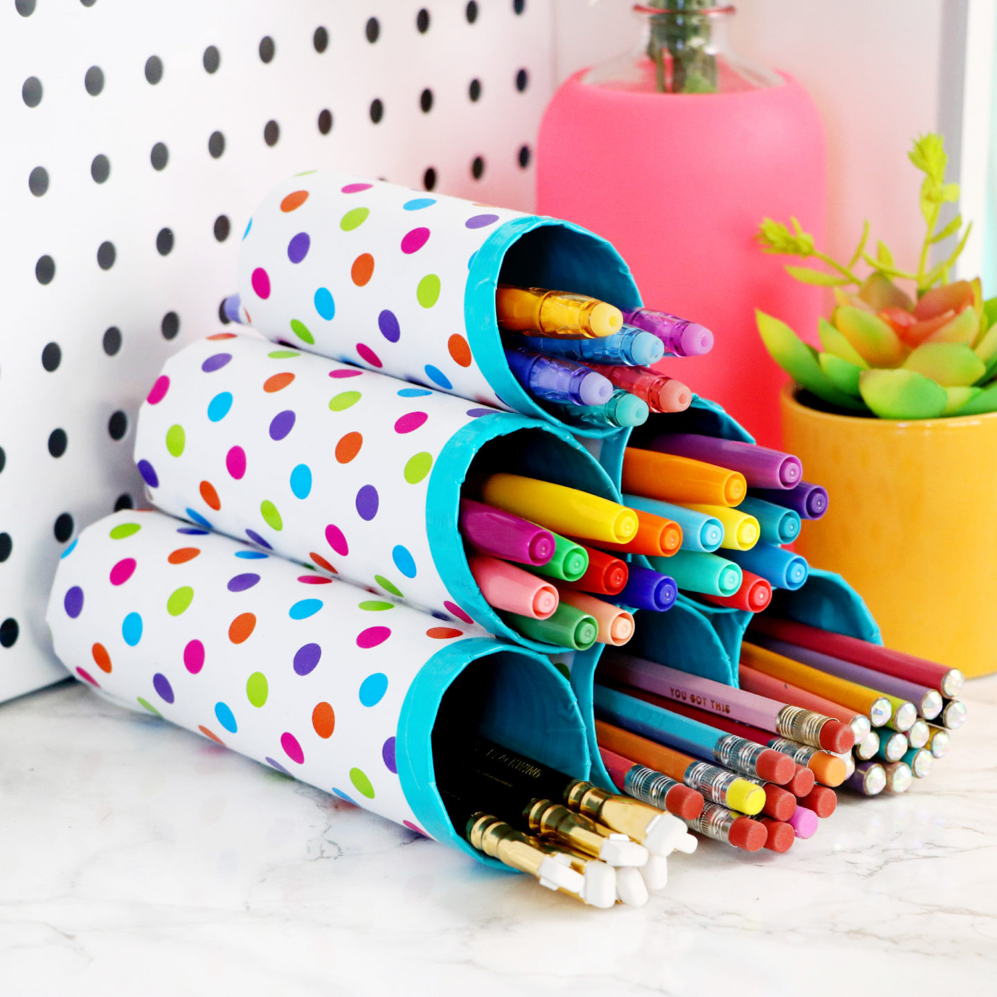 diy desk crafts cardboard tubes projects craft tube holder storage organization sewing tutorials manualidades schreibtisch organisation handmade mason basteln ambachts