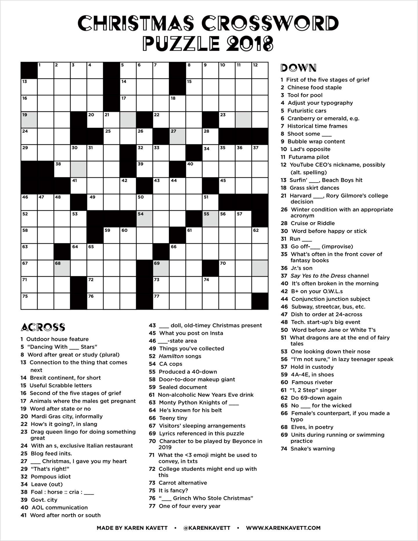 Christmas Crossword Puzzle 2018 Karen Kavett