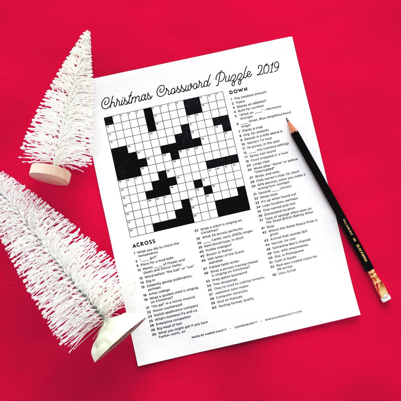 Christmas Crossword Puzzle 2019 - Karen Kavett